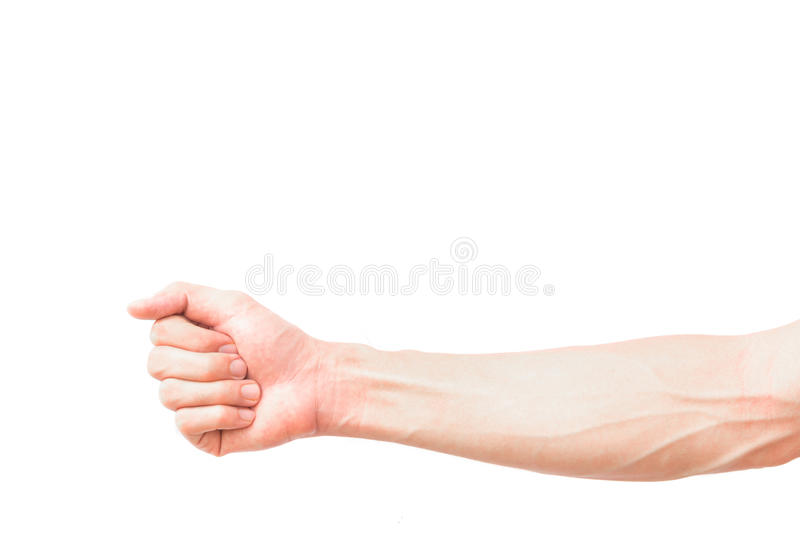 Man arm with blood veins on white background, health care concept royalty free stock photo