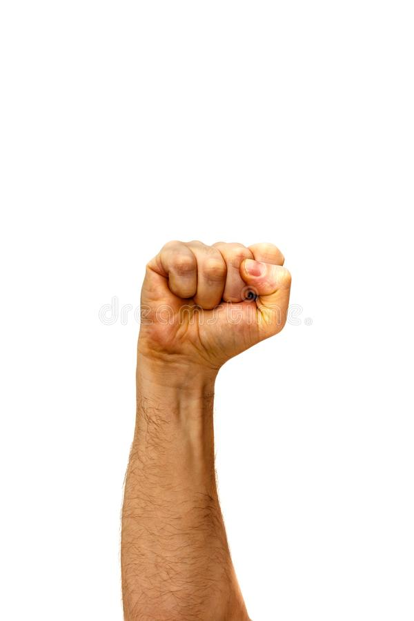 Man arm male fist on a white background concept oppression and violence winner stronger. Man arm male fist on a white background concept oppression and violence stock images