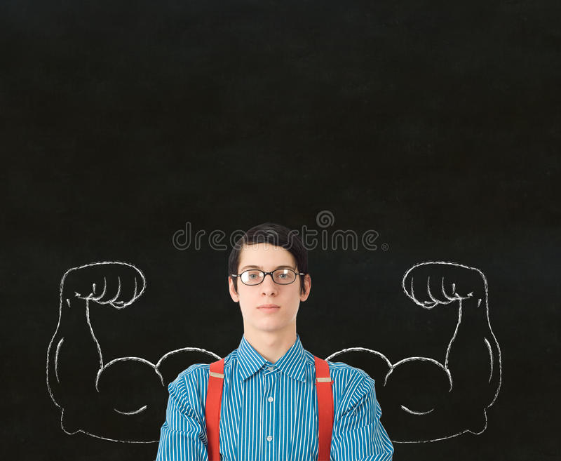 Nerd geek businessman student teacher strong arm m stock image