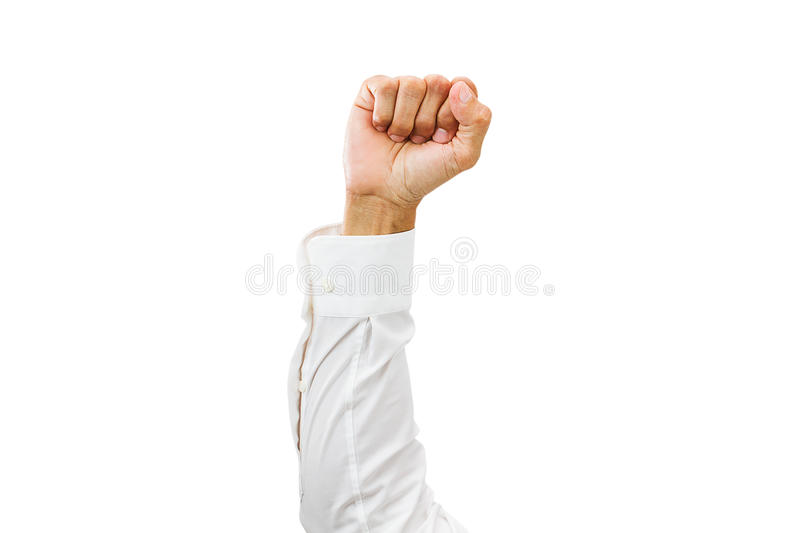 Man arm with white shirt and clenched fist isolated on white background. With clipping path stock photos
