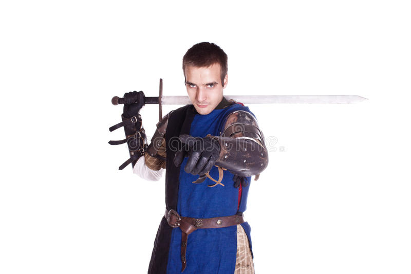 The man in armor. Knight. stock photography