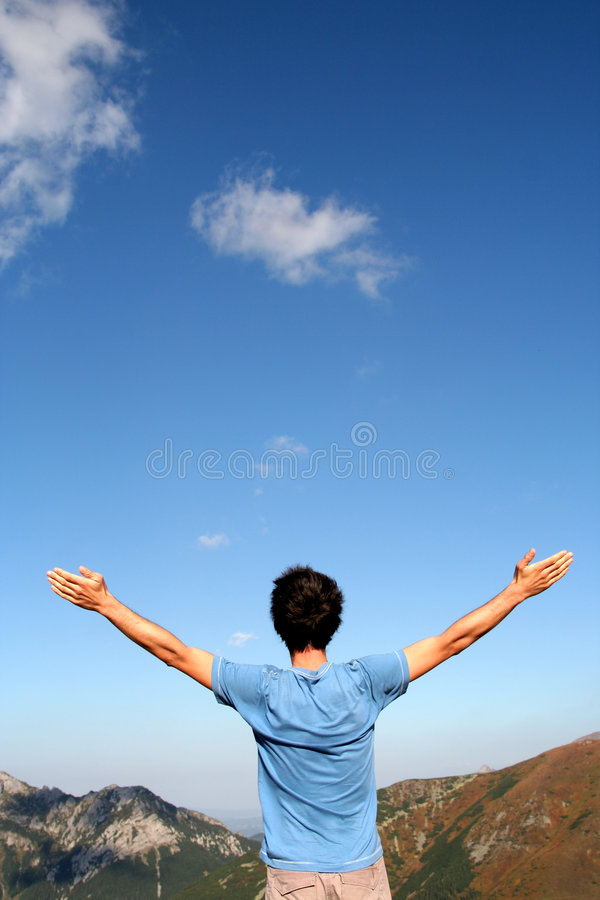 Download Man with arms outstretched stock photo. Image of summer - 1329020