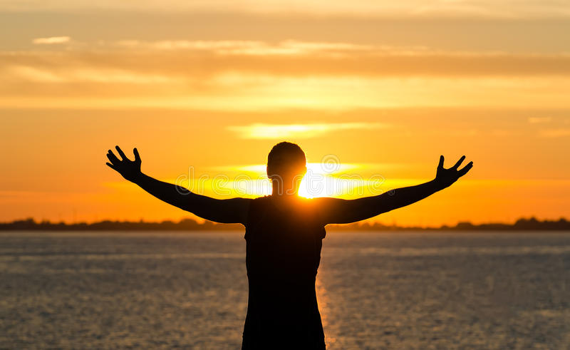 Download Man with arms wide open stock image. Image of dawn, peace - 33319379