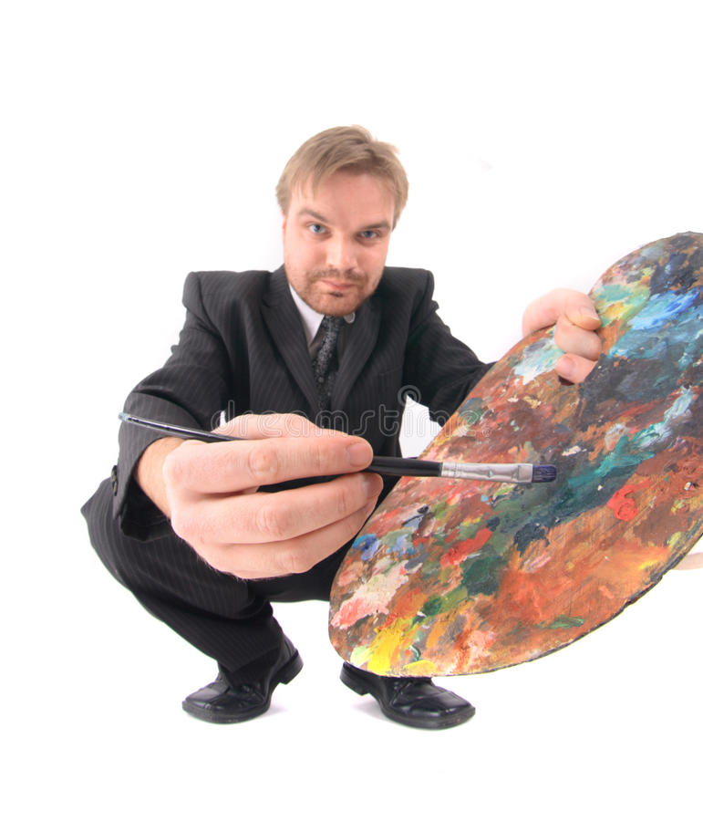 Man as artist. Isolated on the white background stock photo