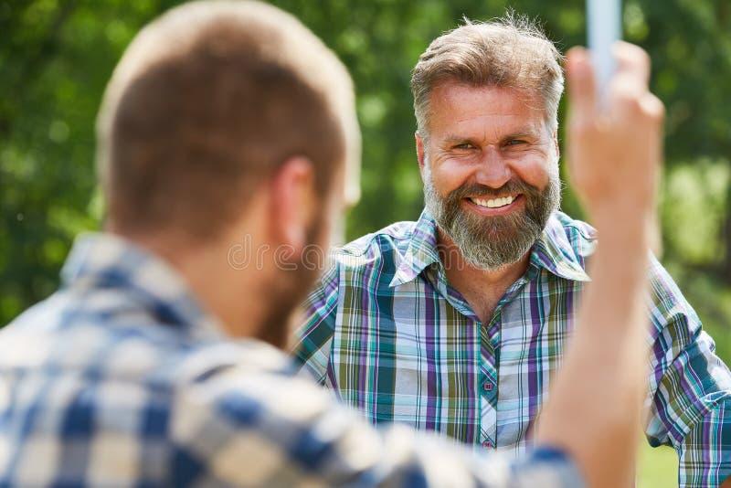 Man as happy activist in volunteer royalty free stock photo