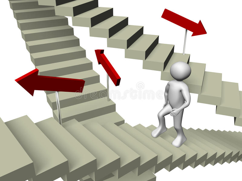 Man ascending. A man is ascending the stairs. Concept of business stock illustration