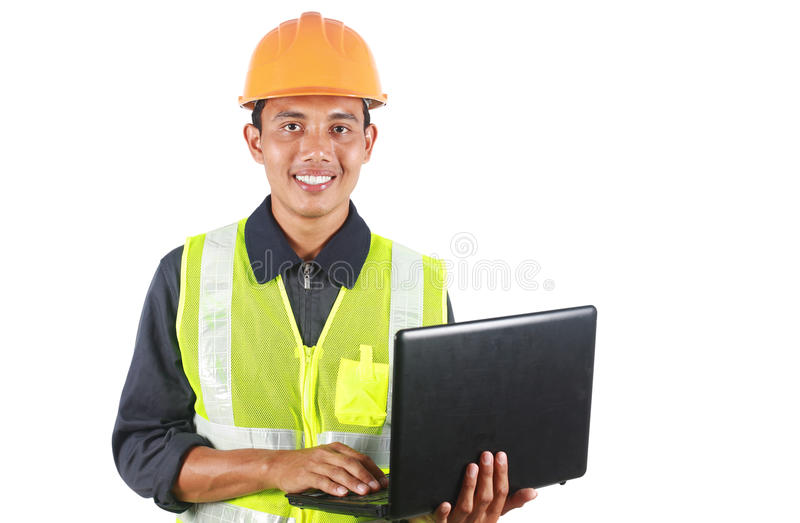 Man asian engineer with laptop royalty free stock image