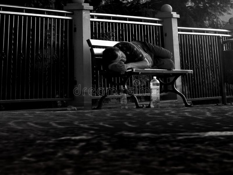 Man asleep on park bench stock images