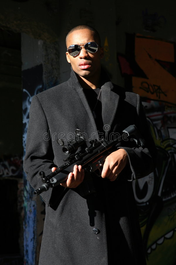 Man With Assault Rifle Royalty Free Stock Photo
