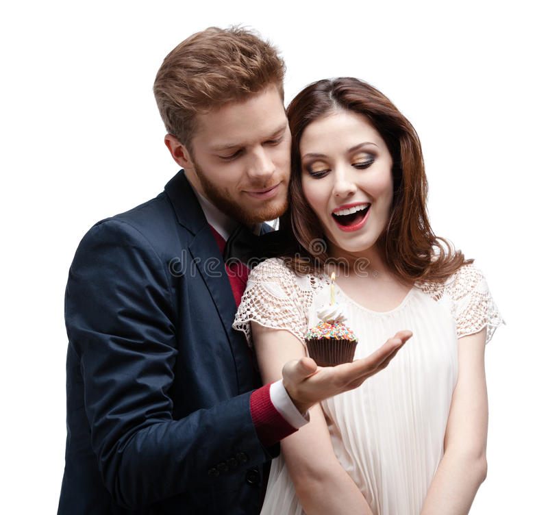 Download Man Astonishes His Girlfriend With Birthday Cake Stock Image - Image: 26322363