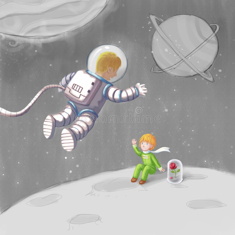 Man Astronaut and Little Princess. Meet Someone in the Travel Series royalty free illustration