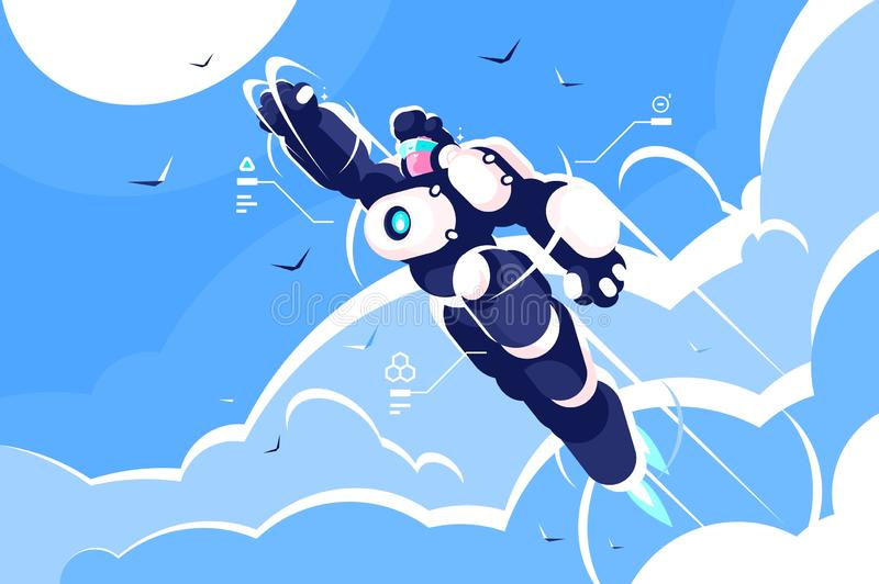 Man astronaut super hero spacesuit flying in sky. Robot costume powerful cartoon character concept. Flat. Vector illustration royalty free illustration
