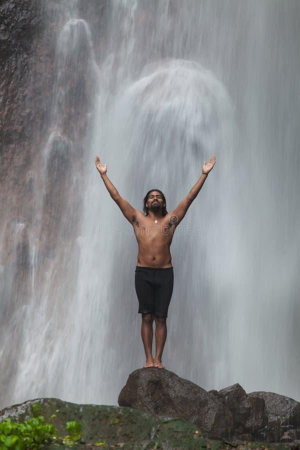 Free Man At Waterfall Royalty Free Stock Images - 33323259