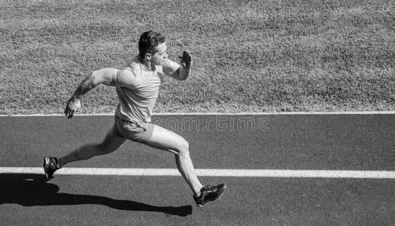 Man athlete run to achieve great result. How run faster. Speed training guide. List ways to improve running speed. Athlete runner sporty shape in motion. Sport royalty free stock photos