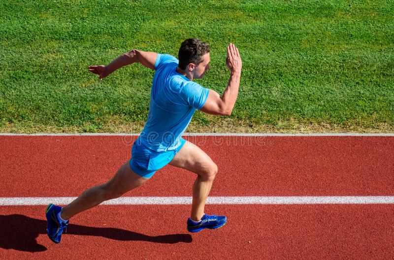 Man athlete run to achieve great result. Speed training guide. List ways to improve running speed. Athlete runner sporty royalty free stock image