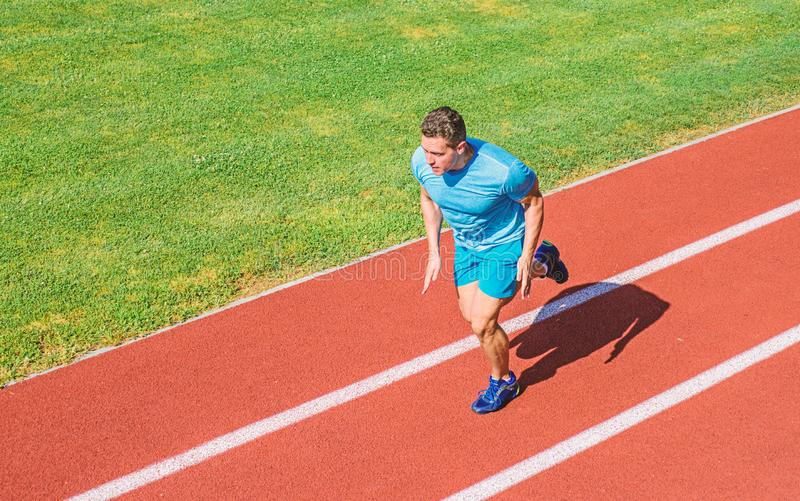 Man athlete run to achieve great result. Speed training guide. Athlete runner sporty shape in motion. Ways to improve royalty free stock photography