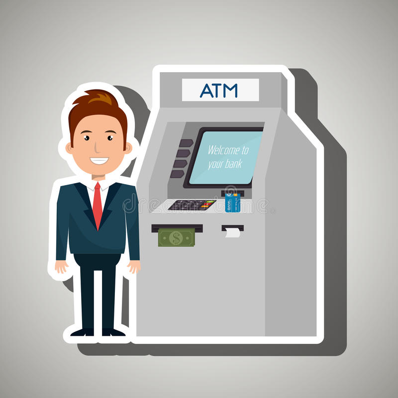 Man atm money credit. Illustration eps 10 vector illustration