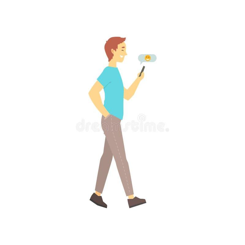 Man att gå och överföring av meddelandet på hans telefon Online-datummärkningservicebegrepp med pojken som talar i pratstund Vekt stock illustrationer