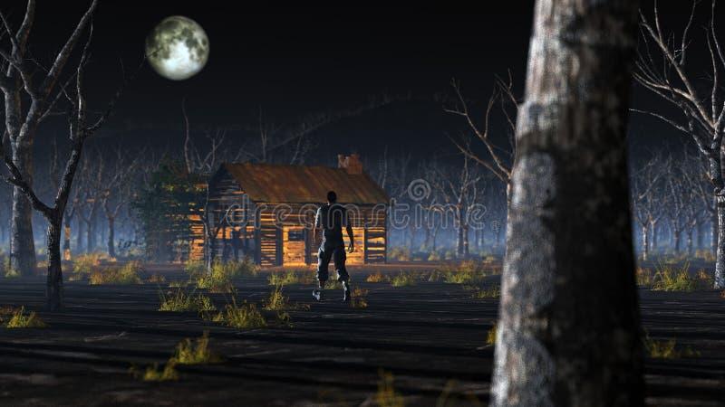 Man att gå till den avlägsna träkabinen i dimmigt landskap med döda träd royaltyfri illustrationer