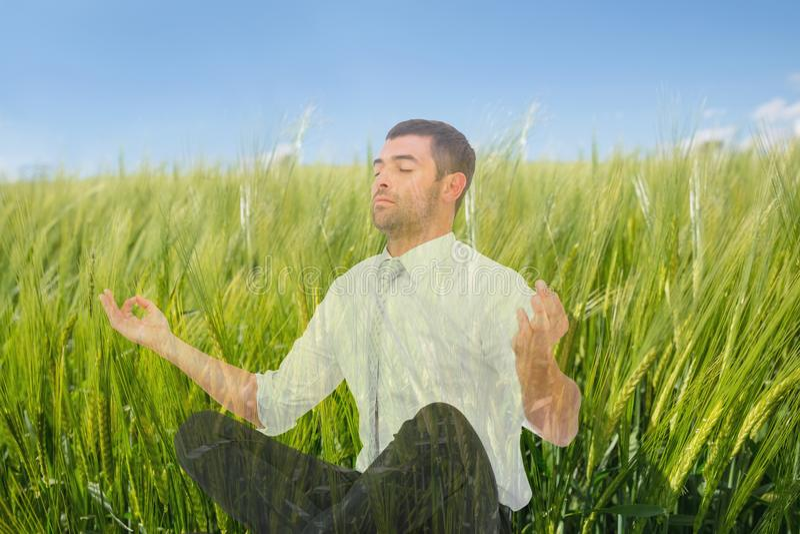 Man att göra yoga i fältet av gröna sproutings arkivbilder