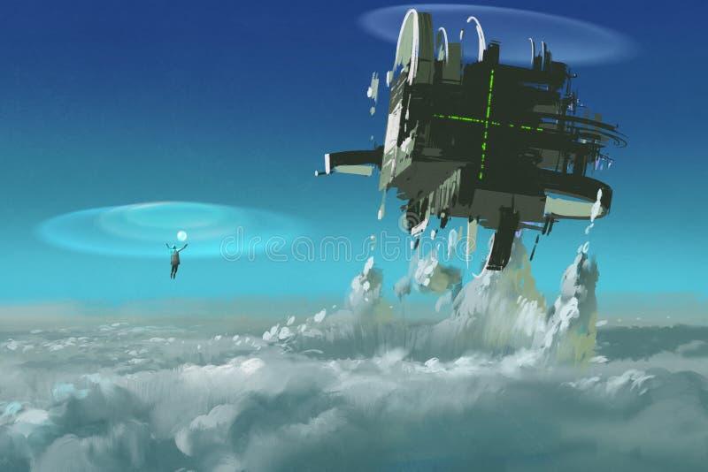 Man att gjuta den futuristiska strukturen som bryter till och med moln stock illustrationer