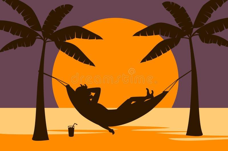 Man att koppla av i hängmatta på stranden på solnedgången stock illustrationer
