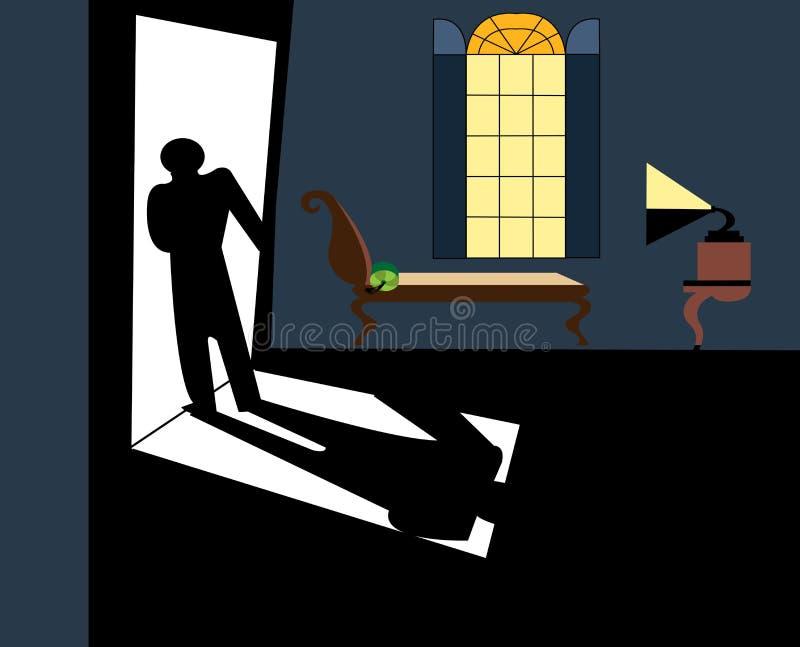 Man att lämna en lägenhet i en mystisk atmosfär royaltyfri illustrationer