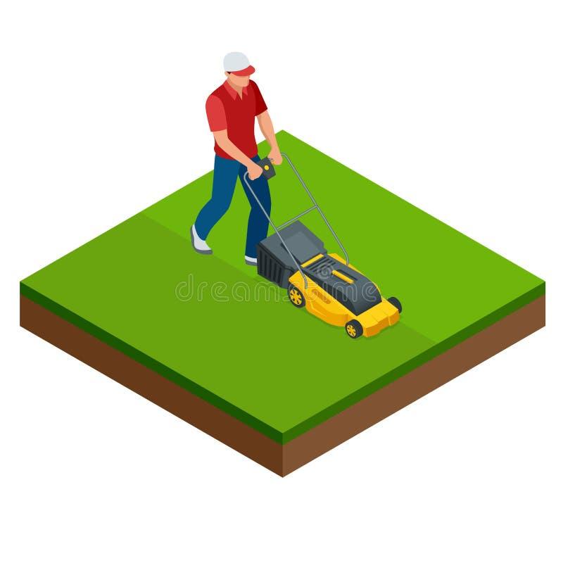 Man att meja gräsmattan med den gula gräsklipparen i sommartid Begrepp för gräsmattagrässervice Isometrisk vektorillustration vektor illustrationer