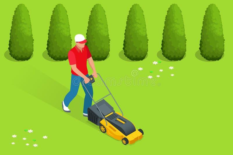 Man att meja gräsmattan med den gula gräsklipparen i sommartid Begrepp för gräsmattagrässervice Isometrisk vektorillustration stock illustrationer
