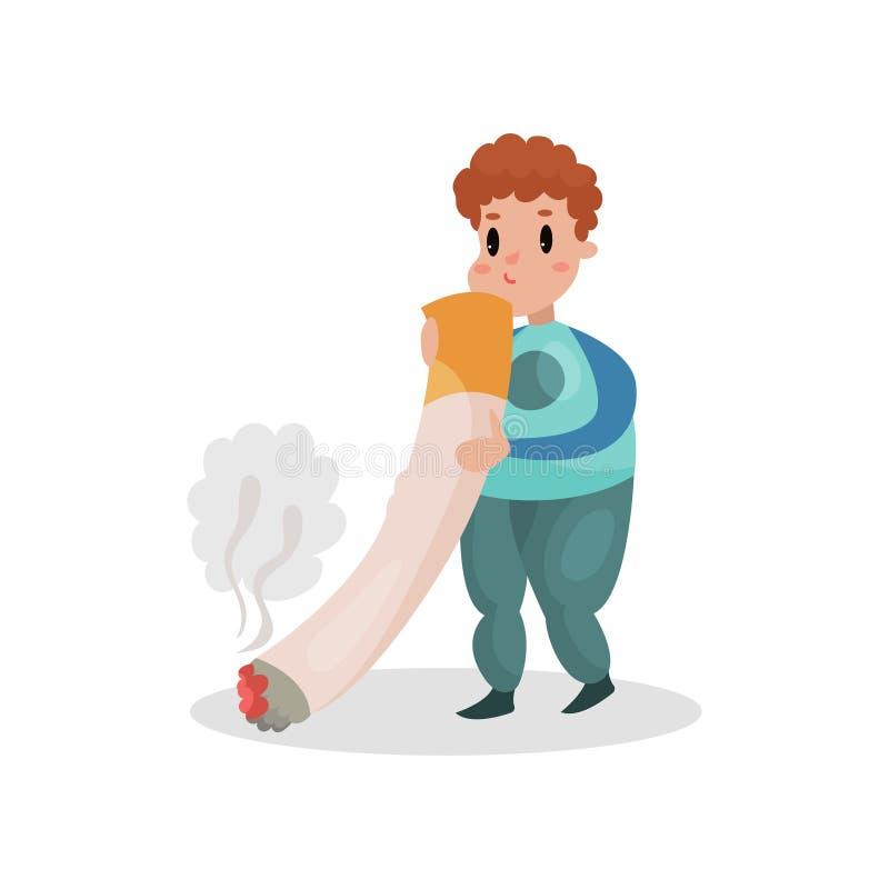 Man att röka den jätte- cigaretten, skadlig vana och illustrationen för böjelsetecknad filmvektor vektor illustrationer