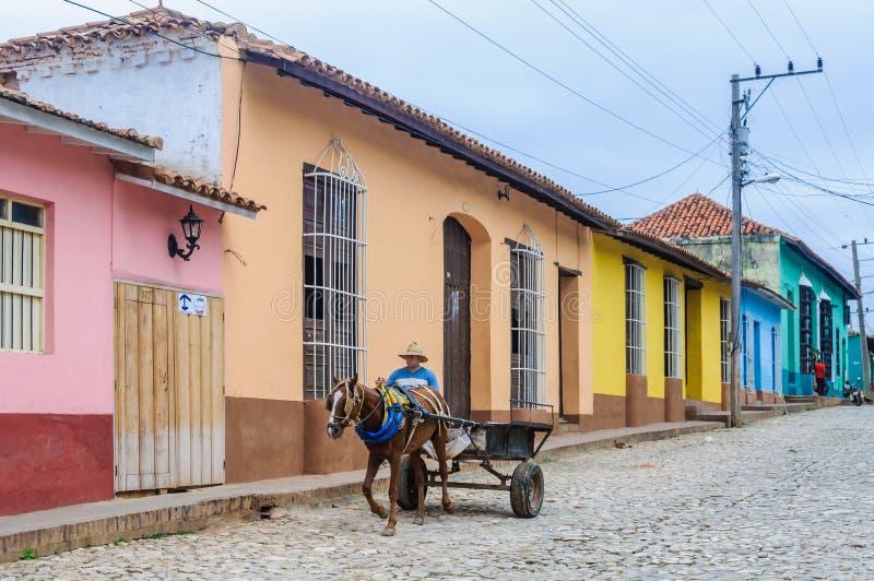 Man att rida en hästvagn i Trinidad, Kuba royaltyfria bilder