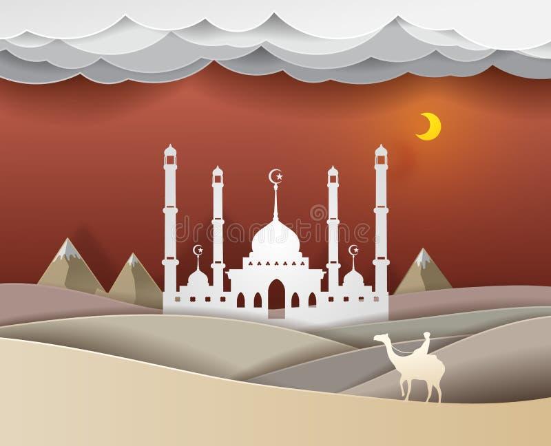 Man att rida en kamel i öknen på vec för nattMasjid bakgrund royaltyfri illustrationer