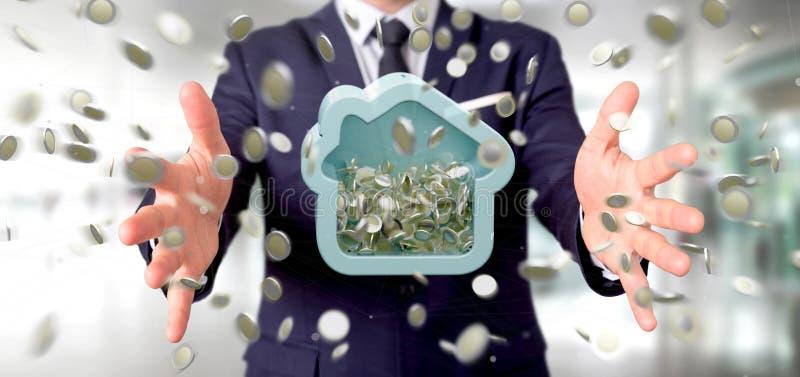 Man att rymma en husmoneybox med myntet som över hela omger 3d r arkivfoto