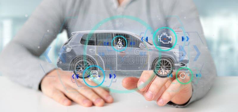 Man att rymma en Smartcar med tolkningen f?r checkings 3d royaltyfri fotografi