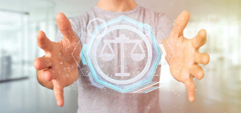 Man att rymma en teknologirättvisasymbol på en tolkning för cirkel 3d royaltyfri foto