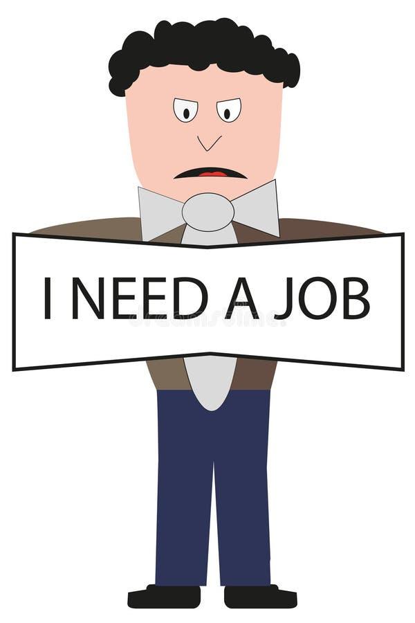 Man att söka efter ett jobb royaltyfri illustrationer