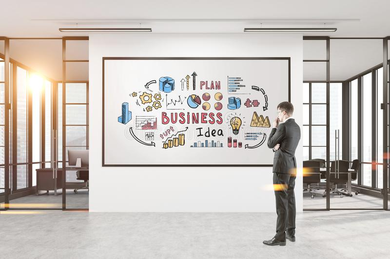 Man att se affärsidéaffischen, kontor vektor illustrationer