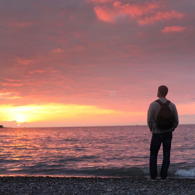 Man att se solnedgången på en strand royaltyfri bild