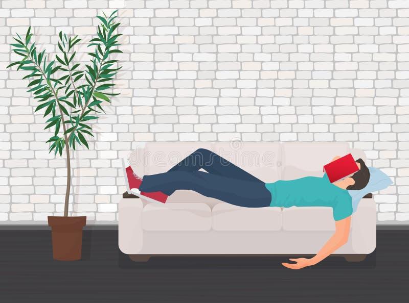 Man att sova på soffasoffan med boken som täcker hans framsida Den trötta studenten faller sovande royaltyfri illustrationer