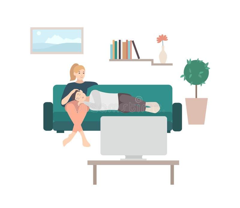 Man att sova på varv av kvinnasammanträde på den hemtrevliga soffan och hållande ögonen på TV- eller televisionuppsättning Det gu stock illustrationer