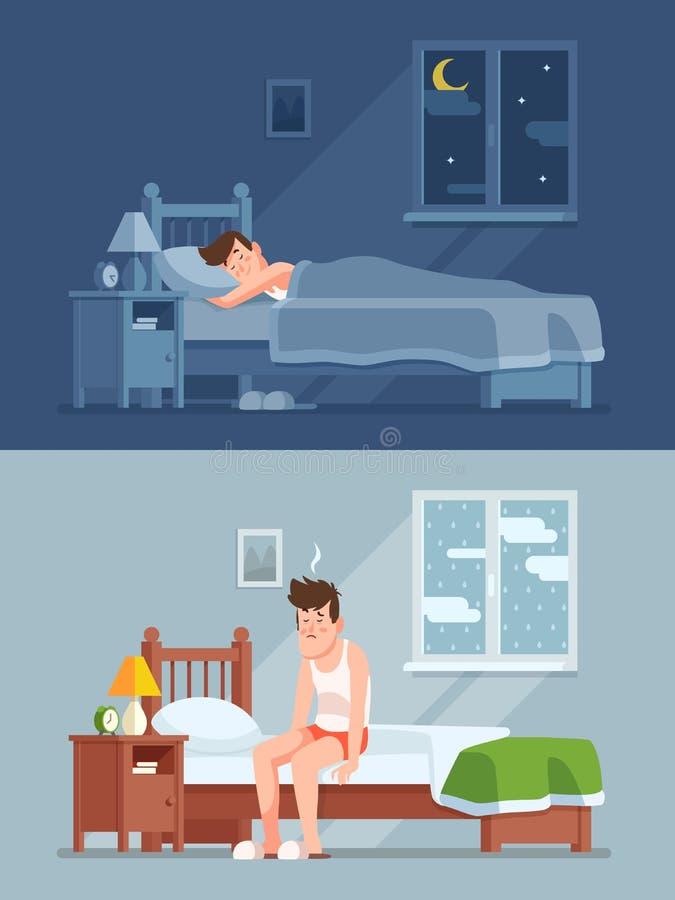 Man att sova under duntäcket på natten som upp vaknar morgon med sänghår och sömnig känsla Vektor för tecknad film för sömnoordni royaltyfri illustrationer