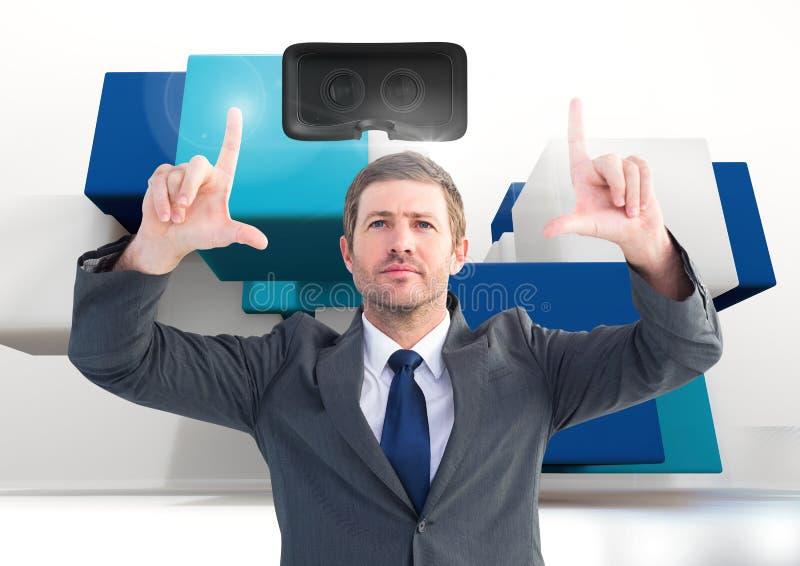 Man att trycka på och växelverkan med virtuell verklighethörlurar med mikrofon med övergångseffekt royaltyfri bild