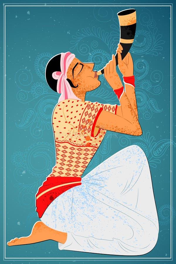 Man att utföra den Bihu folkdansen av Assam, Indien stock illustrationer