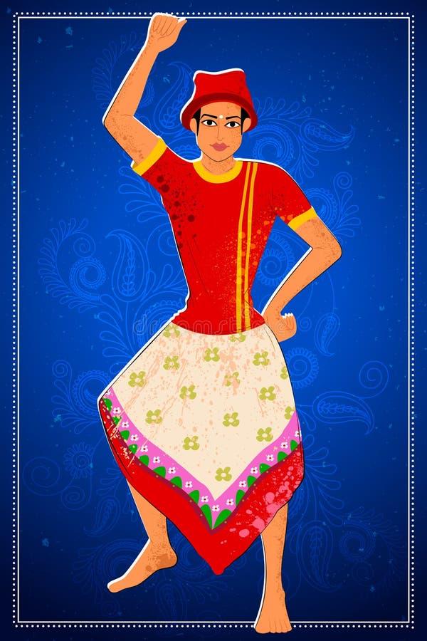 Man att utföra den Koli folkdansen av maharashtraen, Indien royaltyfri illustrationer