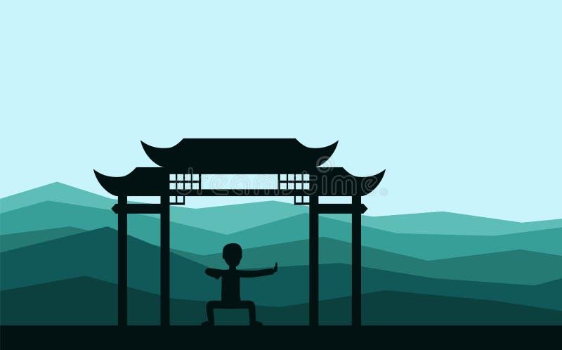 Man att utföra qigong eller taijiquan övningar i aftonen royaltyfri illustrationer