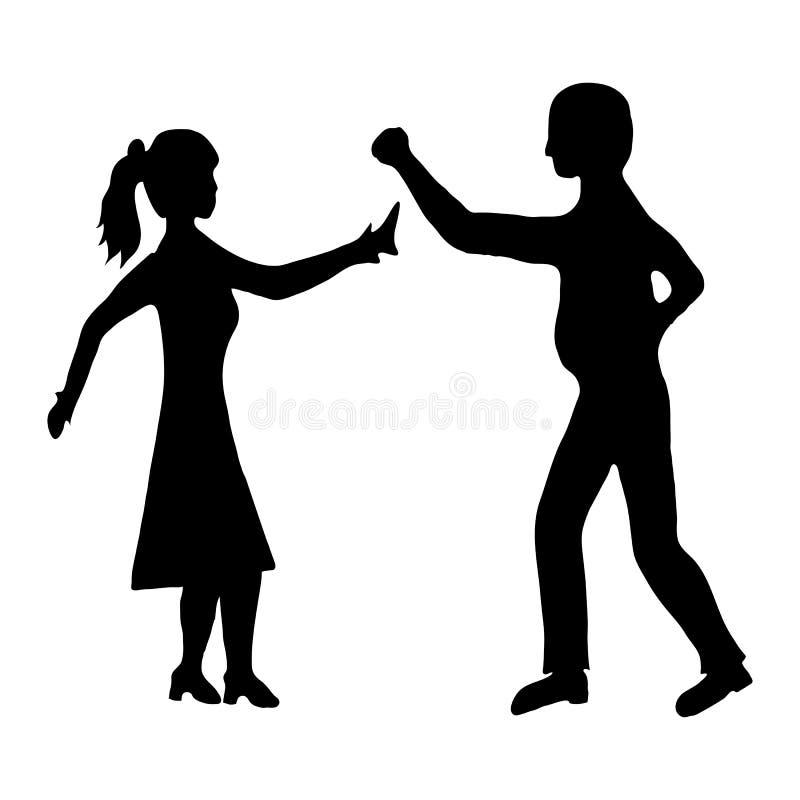 Man attacking woman vector illustration