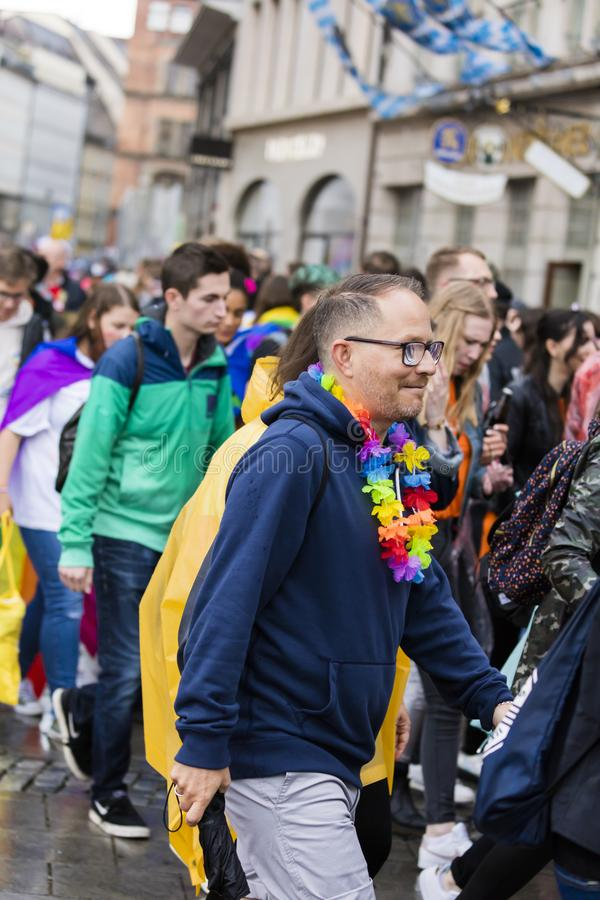 A man attending the Gay Pride parade also known as Christopher Street Day CSD in Munich, Germany. 2019: A man attending the Gay Pride parade also known as royalty free stock image