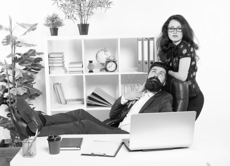 Man and attractive woman. Boss manager director and ceo position. Business man secretary. Job and career. Modern stock images