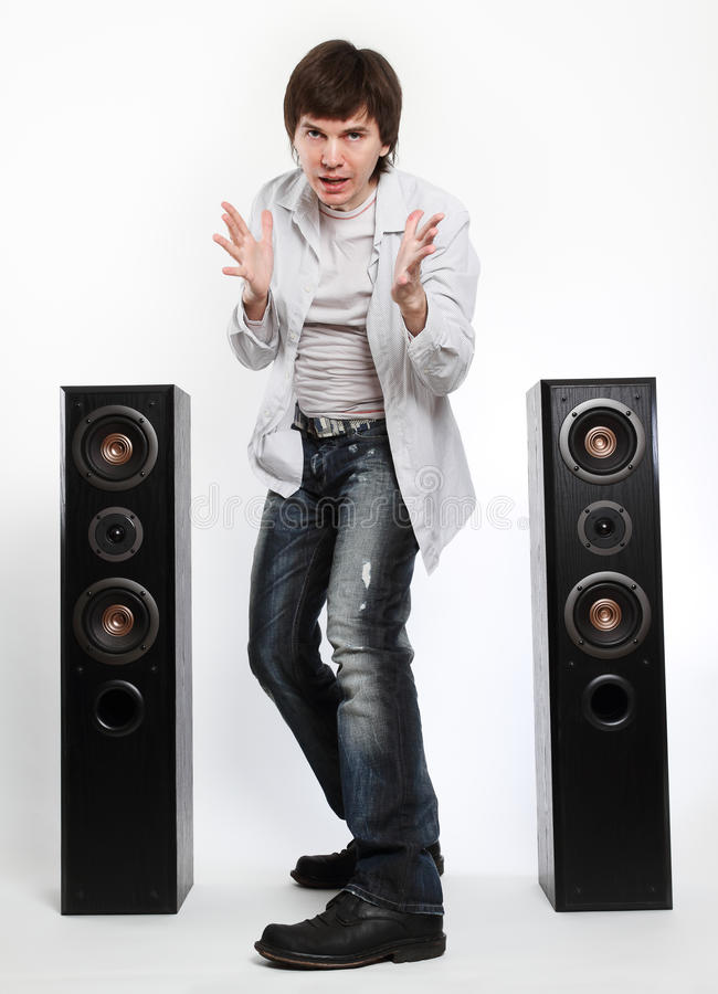 Download Man with audio system. stock image. Image of sound, white - 17151681