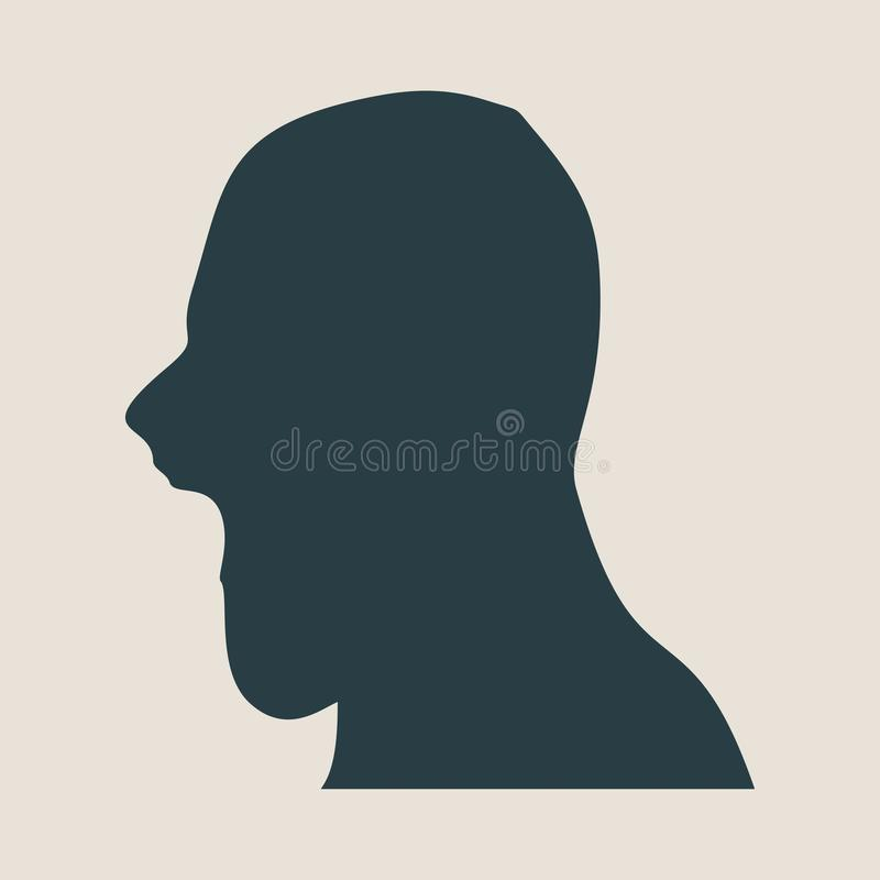 Man avatar profile view. Male face silhouette. Or icon . Vector illustration. Wide open mouth royalty free illustration